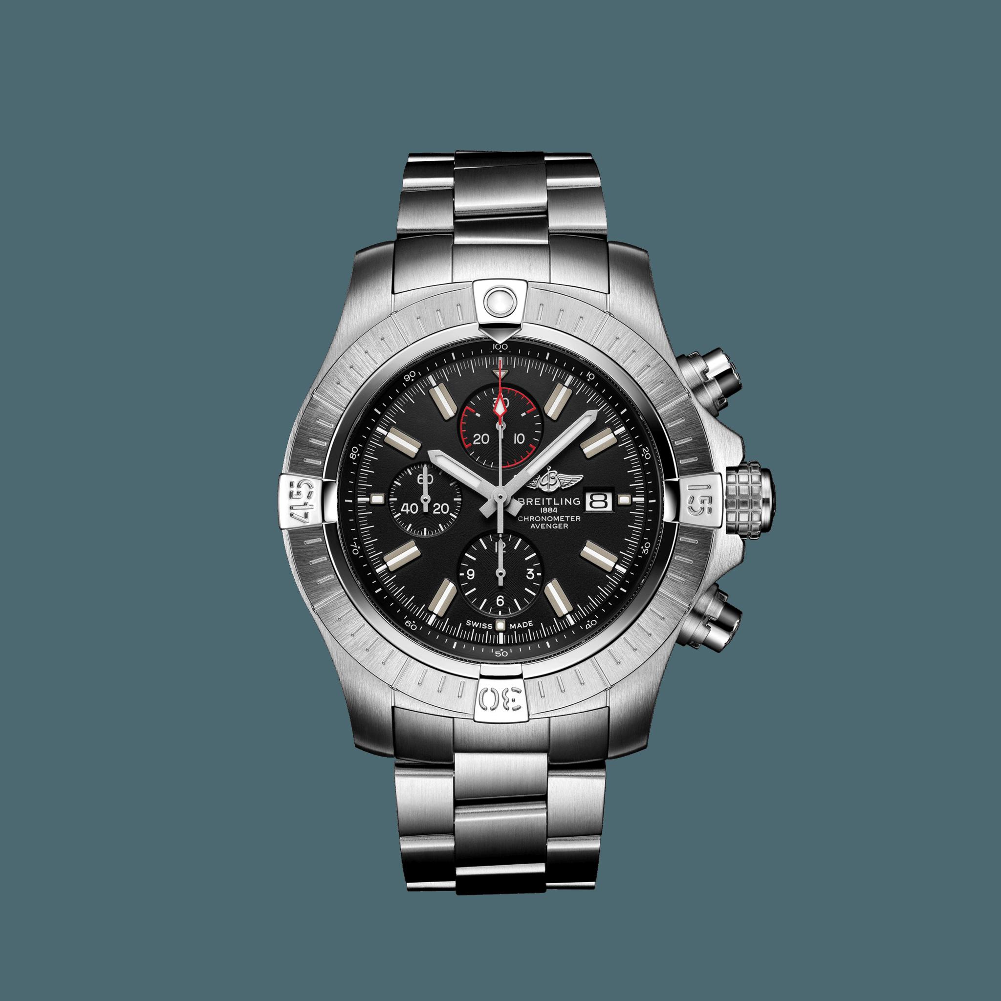 Breitling Super Avenger Chronograph 48 Edelstahl schwarz