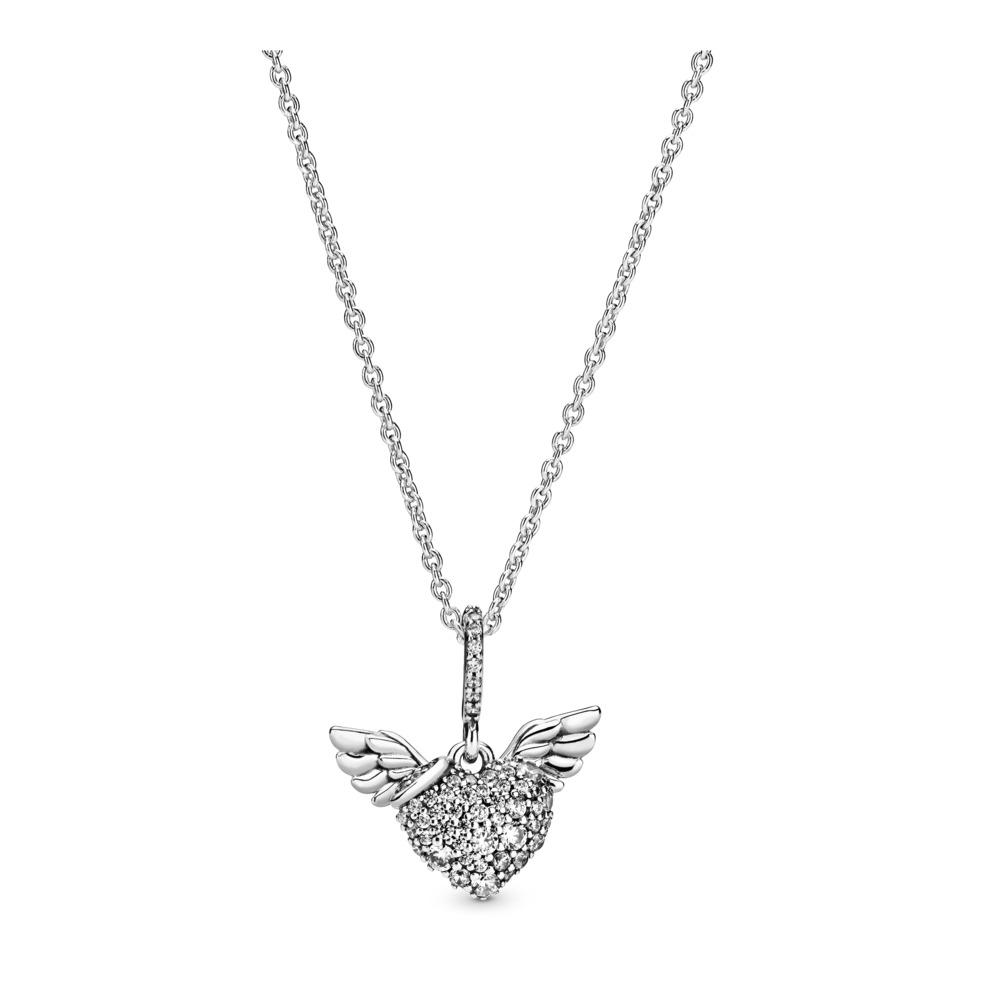 Pandora Kette Pavé-Herz mit Engelsflügeln