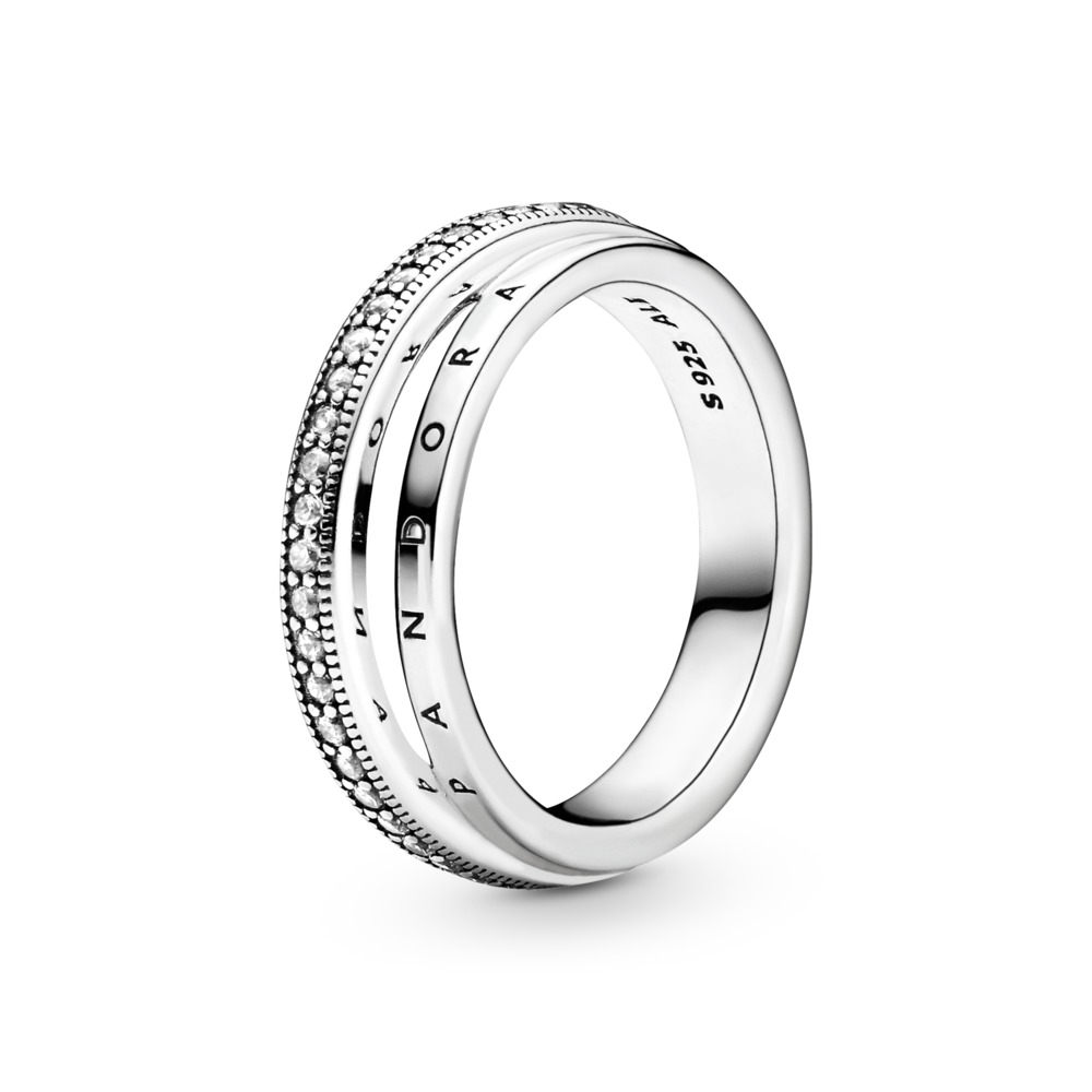 Pandora dreifacher Pavé-Ring
