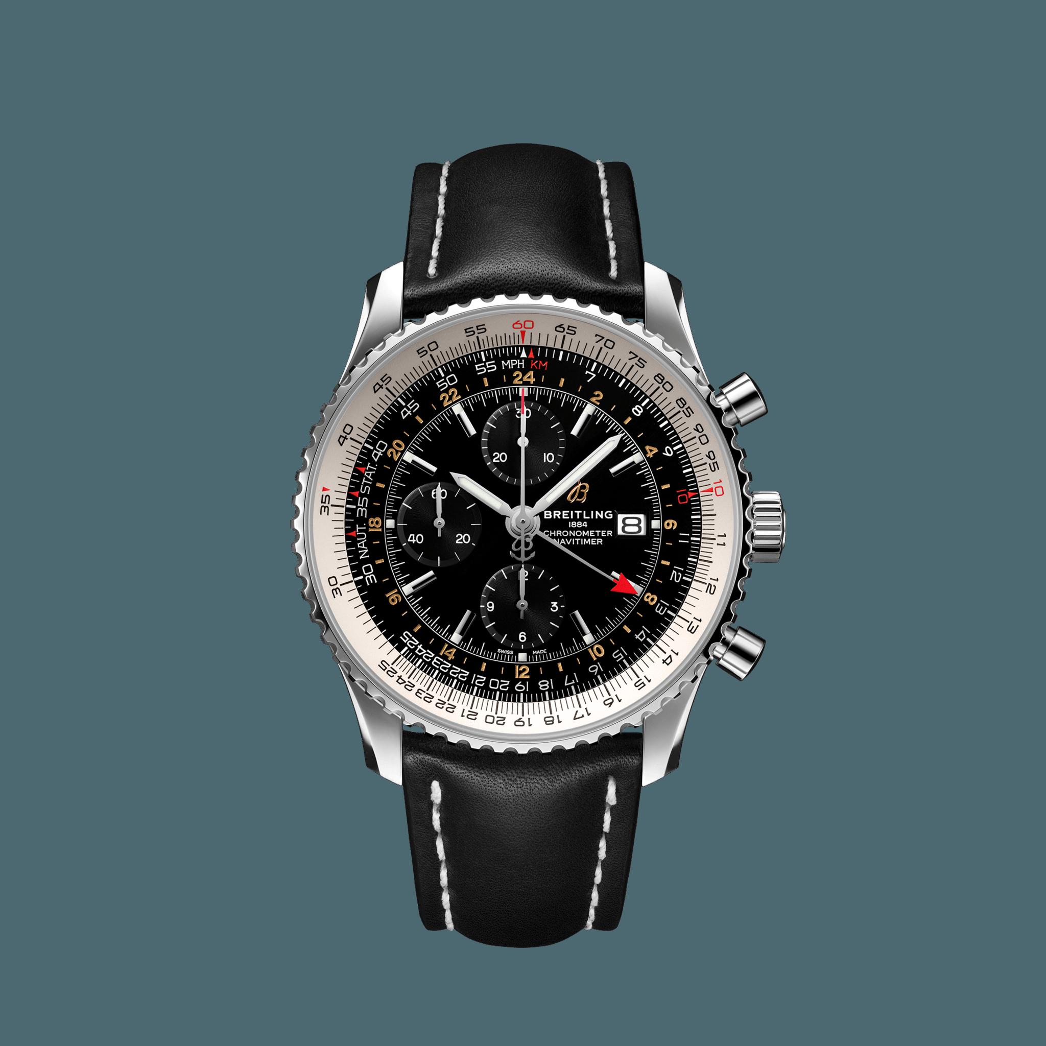 Breitling Navitimer Chronograph GMT 46 Edelstahl  schwarz